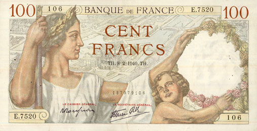 8.2.1940 BANKNOTEN DER BANQUE DE FRANCE Banque de France. Billet. 100 francs Sully, 8.2.1940 ss