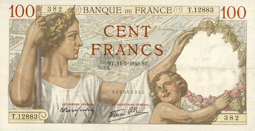 11.7.1940 BANKNOTEN DER BANQUE DE FRANCE Banque de France. Billet. 100 francs Sully, 11.7.1940 ss+
