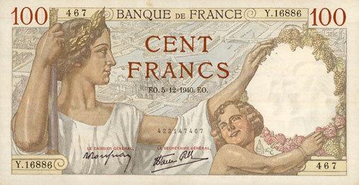 5.12.1940 BANKNOTEN DER BANQUE DE FRANCE Banque de France. Billet. 100 francs Sully, 5.12.1940 ss-vz