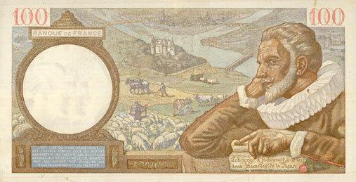 4.12.1941 BANKNOTEN DER BANQUE DE FRANCE Banque de France. Billet. 100 francs Sully, 4.12.1941 ss