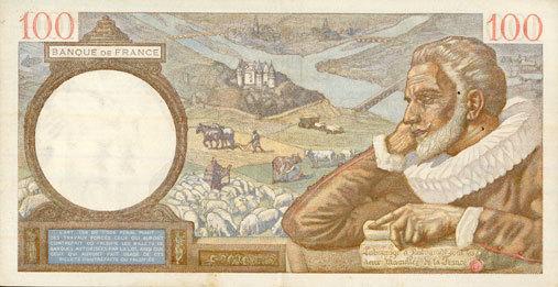 29.1.1942 BANKNOTEN DER BANQUE DE FRANCE Banque de France. Billet. 100 francs Sully, 29.1.1942 ss+