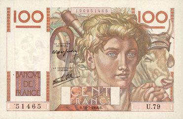 18.7.1946 BANKNOTEN DER BANQUE DE FRANCE Banque de France. Billet. 100 francs jeune paysan, 18.7.1946 vz+