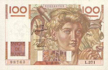 1950-10-12 BANKNOTEN DER BANQUE DE FRANCE Banque de France. Billet. 100 francs jeune paysan, 12.10.1950 Deux très petites taches d'origine dans le papier, neuf