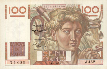 3.4.1952 BANKNOTEN DER BANQUE DE FRANCE Banque de France. Billet. 100 francs jeune paysan, 3.4.1952 vz+