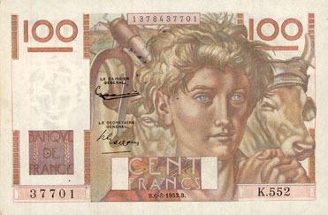 6.8.1953 NOTES OF THE BANQUE DE FRANCE Banque de France. Billet. 100 francs jeune paysan, 6.8.1953, filigrane inversé VF+