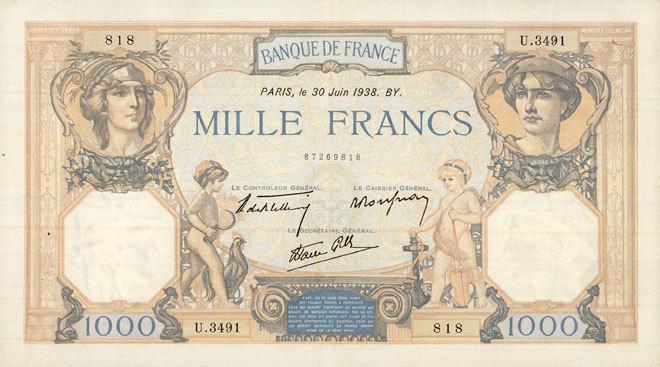 30.6.1938 BANKNOTEN DER BANQUE DE FRANCE Banque de France. Billet. 1000 francs, Cérès et Mercure, 30.6.1938 ss+