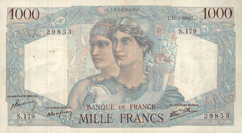 17.1.1946 BANKNOTEN DER BANQUE DE FRANCE Banque de France. Billet. 1000 francs, Minerve et Hercule, 17.1.1946 ss