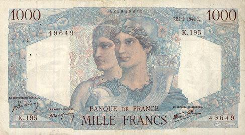 21.2.1946 BANKNOTEN DER BANQUE DE FRANCE Banque de France. Billet. 1000 francs, Minerve et Hercule, 21.2.1946 s-ss