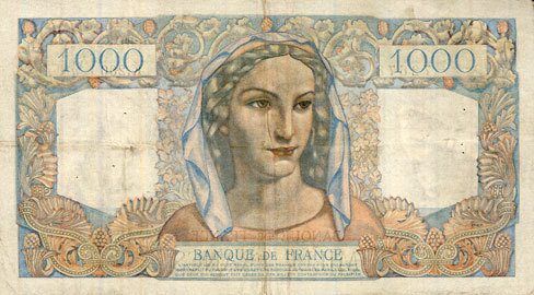 25.4.1946 BANKNOTEN DER BANQUE DE FRANCE Banque de France. Billet. 1000 francs, Minerve et Hercule, 25.4.1946 ss