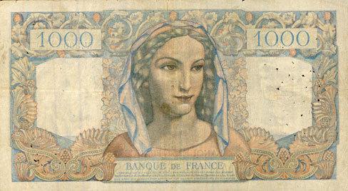 11.7.1946 BANKNOTEN DER BANQUE DE FRANCE Banque de France. Billet. 1000 francs, Minerve et Hercule, 11.7.1946 s+