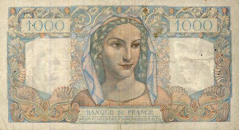 12.9.1946 BANKNOTEN DER BANQUE DE FRANCE Banque de France. Billet. 1000 francs, Minerve et Hercule, 12.9.1946 Déchirure 6 mm / bord inférieur consolidé sinon ss