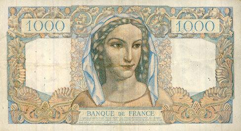 7.4.1949 BANKNOTEN DER BANQUE DE FRANCE Banque de France. Billet. 1000 francs, Minerve et Hercule, 7.4.1949 ss