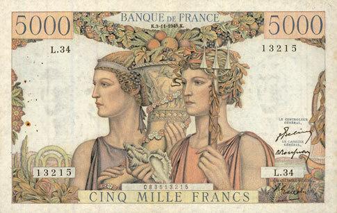 3.11.1949 BANKNOTEN DER BANQUE DE FRANCE Banque de France. Billet. 5000 francs, Terre et Mer, 3.11.1949 Très petite tache / revers sinon ss