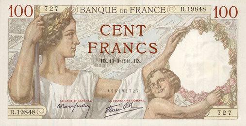 13.3.1941 BANKNOTEN DER BANQUE DE FRANCE Banque de France. Billet. 100 francs Sully, 13.3.1941 vz