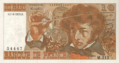 7.8.1975 BANKNOTEN DER BANQUE DE FRANCE Banque de France. Billet. 10 francs, Berlioz, 7.8.1975 vz