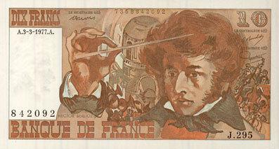 3.3.1977 BANKNOTEN DER BANQUE DE FRANCE Banque de France. Billet. 10 francs, Berlioz, 3.3.1977 I