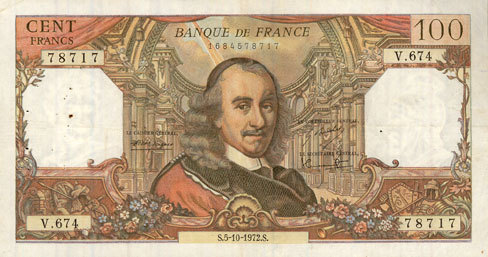 5.10.1972 BANKNOTEN DER BANQUE DE FRANCE Banque de France. Billet. 100 francs, Corneille, 5.10.1972 ss