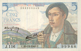 1943-12-23 BANKNOTEN DER BANQUE DE FRANCE Banque de France, billet, 5 francs berger, 23.12.1943 I