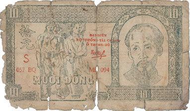 1948 ANDERE AUSLÄNDISCHE SCHEINE Vietnam. Banque vietnamienne. Billet. 10 dong (1948), avec cachet rouge : DAI-DIÊN/BÔ TRUONG... Médiocre