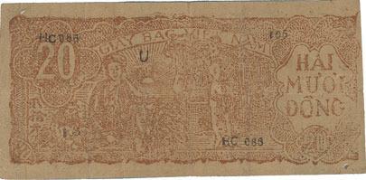 1948 ANDERE AUSLÄNDISCHE SCHEINE Vietnam. Banque vietnamienne - Viêt-Nam Dàn Chu Cong Hoa. Billet. 20 dong (1948) ss
