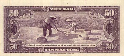 1956 ANDERE AUSLÄNDISCHE SCHEINE Vietnam du Sud. Banque Nationale du Vietnam. Billet. 50 dong (1956) vz