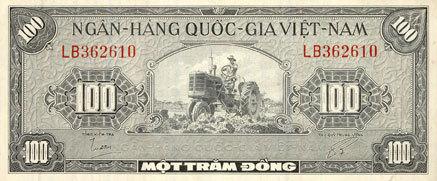 1955 ANDERE AUSLÄNDISCHE SCHEINE Vietnam du Sud. Banque Nationale du Vietnam. Billet. 100 dong (1955) ss+