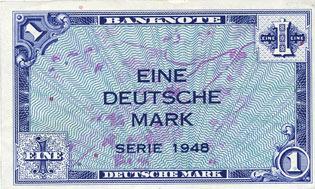 1948 DEUTSCHLAND Allemagne. Bank Deutscher Länder. Billet. 1 mark 1948 I