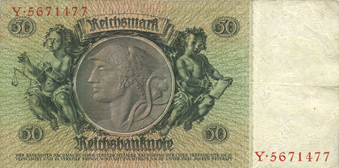 30.3.1933 DEUTSCHLAND Allemagne. Billet. 50 reichsmark 30.3.1933, série X/Y ss