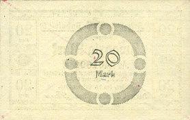 1918-10-29 DEUTSCHLAND - NOTGELDSCHEINE (1914-1923) A - J Anhalt. Herzogliche F. D. Billet. 20 mark 29.10.1918, Annulation par traits en diagonal I