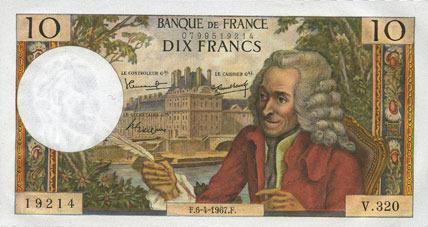 6.4.1967 BANKNOTEN DER BANQUE DE FRANCE Banque de France. Billet. 10 francs, Voltaire, 6.4.1967 I