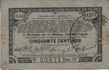 23.4.1915 FRANZÖSISCHE NOTSCHEINE Pas de Calais, Somme et Nord, Groupement de 70 communes. Billet. 50 centimes 23.4.1915 série 1D s