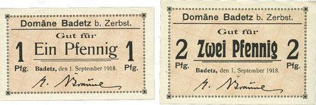 1.9.1918 DEUTSCHLAND - NOTGELDSCHEINE (1914-1923) A - J Badetz bei Zerbst. Domäne. Billets. 1 pf, 2 pf 1.9.1918 2 billets, neuf et vz+