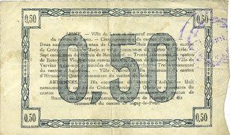 19.9.1915 FRANZÖSISCHE NOTSCHEINE Aisne et Ardennes - Bon régional, Laon, billet, 50 cmes 19.9.1915, 2e série ss