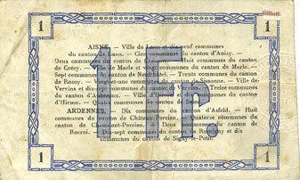 19.9.1915 FRANZÖSISCHE NOTSCHEINE Aisne et Ardennes - Bon régional, Laon, billet, 1 franc 19.9.1915, 1ère série s