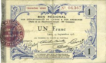 19.9.1915 FRANZÖSISCHE NOTSCHEINE Aisne et Ardennes - Bon régional, Laon, billet, 1 franc 19.9.1915, 3e série s+ / ss