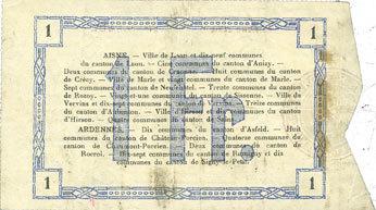 19.9.1915 FRANZÖSISCHE NOTSCHEINE Aisne et Ardennes - Bon régional, Laon, billet, 1 franc 19.9.1915, 3e série ss / s+