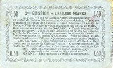 16.6.1916 FRANZÖSISCHE NOTSCHEINE Aisne, Ardennes et Marne - Bon régional. Laon. Billet. 50 cmes 16.6.1916, série 10 ss