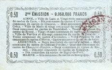 16.6.1916 FRANZÖSISCHE NOTSCHEINE Aisne, Ardennes et Marne - Bon régional. Laon. Billet. 50 cmes 16.6.1916, série 15 vz