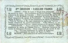 16.6.1916 FRANZÖSISCHE NOTSCHEINE Aisne, Ardennes et Marne - Bon régional. Laon. Billet. 50 cmes 16.6.1916, série 29 Taché / revers, ss / TB