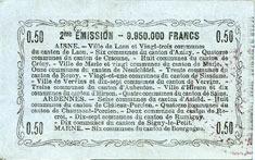 16.6.1916 FRANZÖSISCHE NOTSCHEINE Aisne, Ardennes et Marne - Bon régional. Laon. Billet. 50 cmes 16.6.1916, série 44 vz