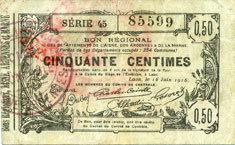 16.6.1916 FRANZÖSISCHE NOTSCHEINE Aisne, Ardennes et Marne - Bon régional. Laon. Billet. 50 cmes 16.6.1916, série 45 Cachet rouge au dos, s