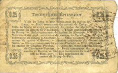 14.6.1917 FRANZÖSISCHE NOTSCHEINE Aisne, Ardennes et Marne - Bon régional. Hirson. Billet. 25 cmes 14.6.1917, série 2 s-ss