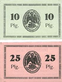 1.7.1920 DEUTSCHLAND - NOTGELDSCHEINE (1914-1923) A - J Bischofswerder (Biskupiec, Pologne). Stadt. Billets. 10 pf, 25 pfennig 1.7.1920 (1921) 2 billets, neufs