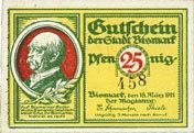 18.3.1921 DEUTSCHLAND - NOTGELDSCHEINE (1914-1923) A - J Bismark. Stadt. Billet. 25 pf 18.3.1921, numérotation à 3 chiffres I
