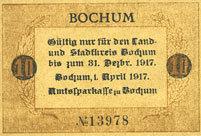 1.4.1917 DEUTSCHLAND - NOTGELDSCHEINE (1914-1923) A - J Bochum. Amtssparkasse. Billet. 10 pf 1.4.1917 I
