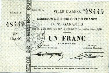 29.8.1914 FRANZÖSISCHE NOTSCHEINE Arras (62). Ville. Billet. 1 franc 29.8.1914, série A vz+