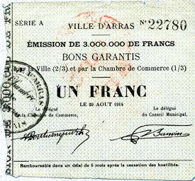 29.8.1914 FRANZÖSISCHE NOTSCHEINE Arras (62). Ville. Billet. 1 franc 29.8.1914, série A Petites déchirures / bord supérieur, ss