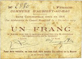 2.12.1914 FRANZÖSISCHE NOTSCHEINE Aubigny-au-Bac (59). Commune. Billet. 1 franc 2.12.1914 Rousseurs, s