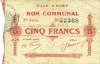 5.12.1914 FRANZÖSISCHE NOTSCHEINE Auby (59). Ville. Billet. 5 francs 5.12.1914 s+