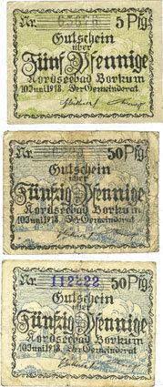 10.6.1918 DEUTSCHLAND - NOTGELDSCHEINE (1914-1923) A - J Borkum. Gemeinde. Billets. 5 pf, 50 pf (2ex) 10.6.1918 3 billets, ss et TB (2ex)